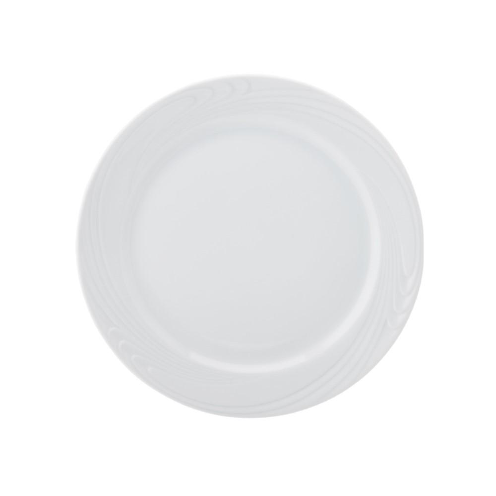 Prato Bolo Em Porcelana 27cm Waves Branca Ref:100.004.027 - Schmidt