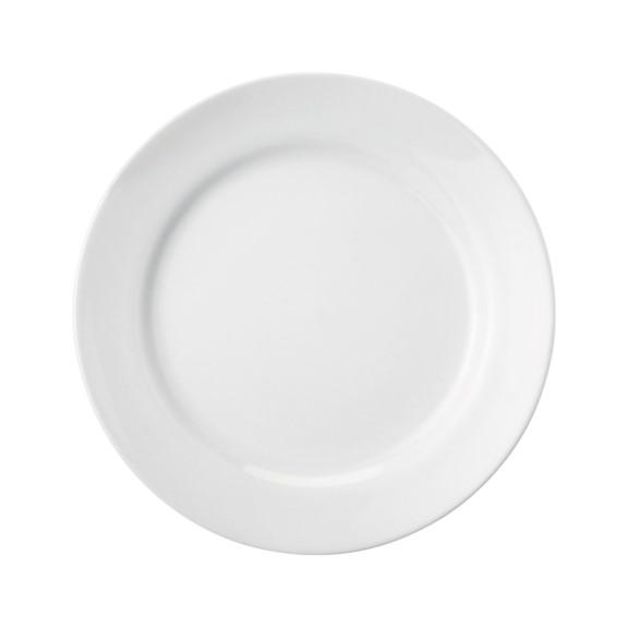 Prato Raso Em Porcelana Branca 26cm Cilindrica - Schmidt