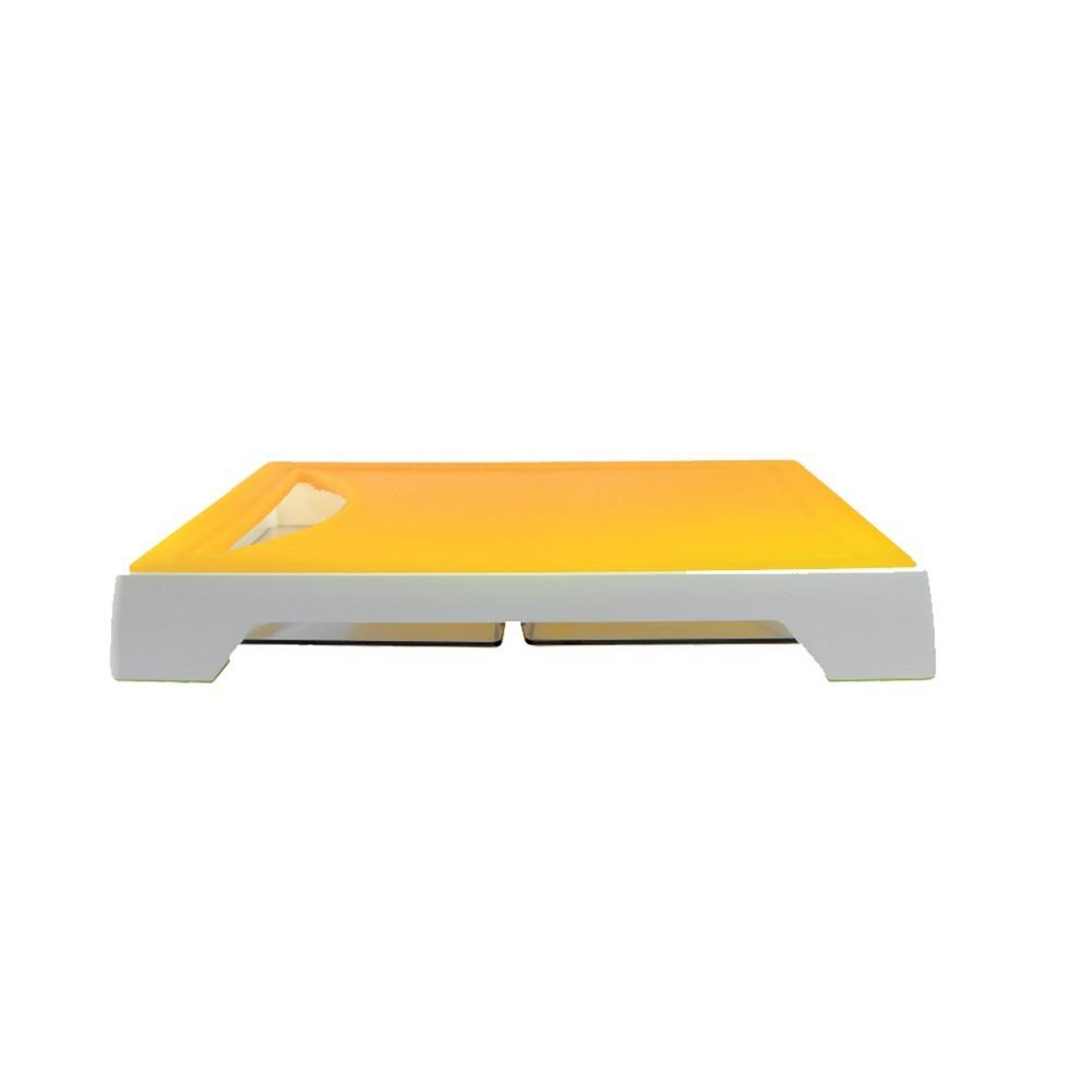 Tábua Para Corte Com 2 Bandejas Coletoras -amarelo Ref:gx0296 - Marcamix