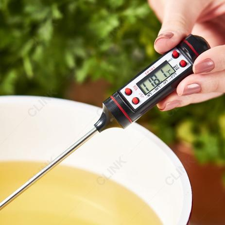 Termômetro Culinário Plástico Com Haste Inox 23x2cm Ref:ck4599 - Clink