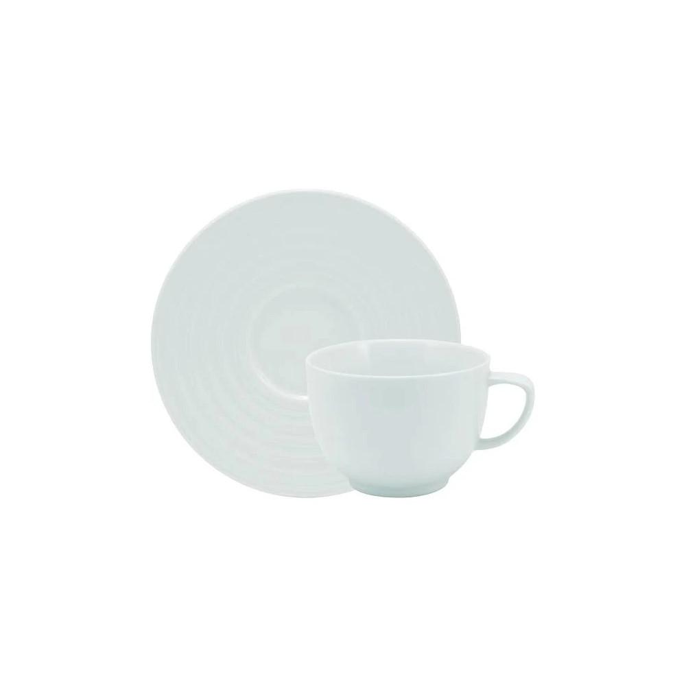 Xícara Café Em Porcelana 100ml Com Pires Arcos Branca Ref:240.004.010 - Schmidt