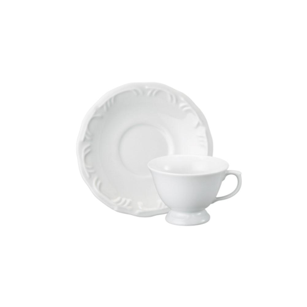 Xícara Chá Em Porcelana 200ml Com Pé Com Pires Pomerode Branca Ref:114.004.020 - Schmidt