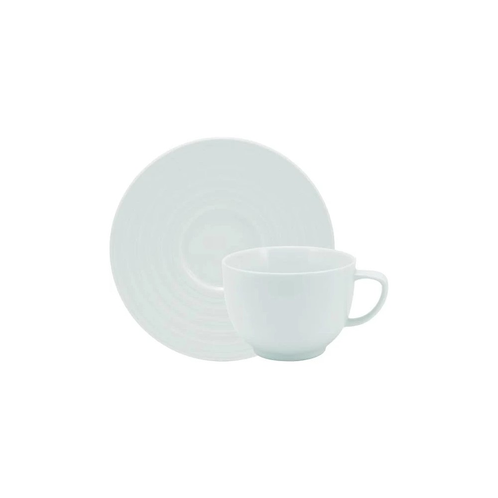 Xícara Chá Em Porcelana 200ml Com Pires Arcos Branca Ref:240.004.020 - Schmidt