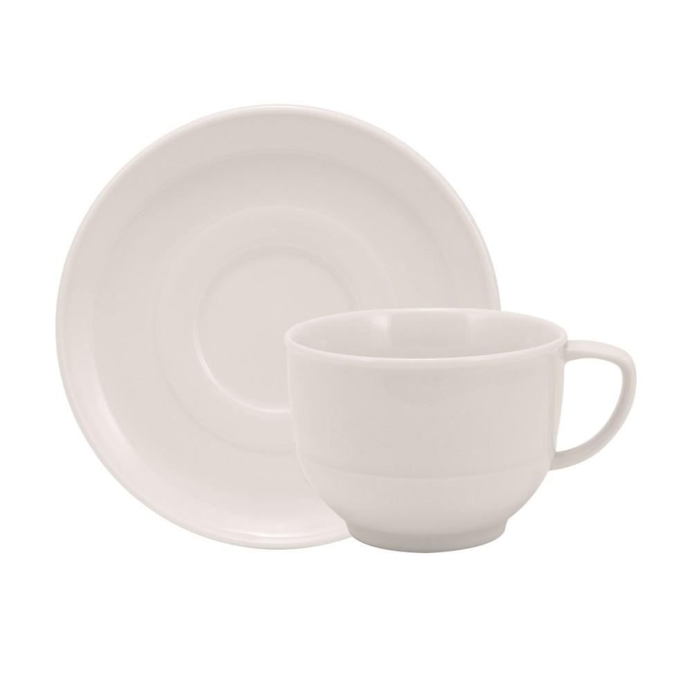 Xícara Chá Em Porcelana 200ml Com Pires Lys Branca Ref:242.004.020 - Schmidt