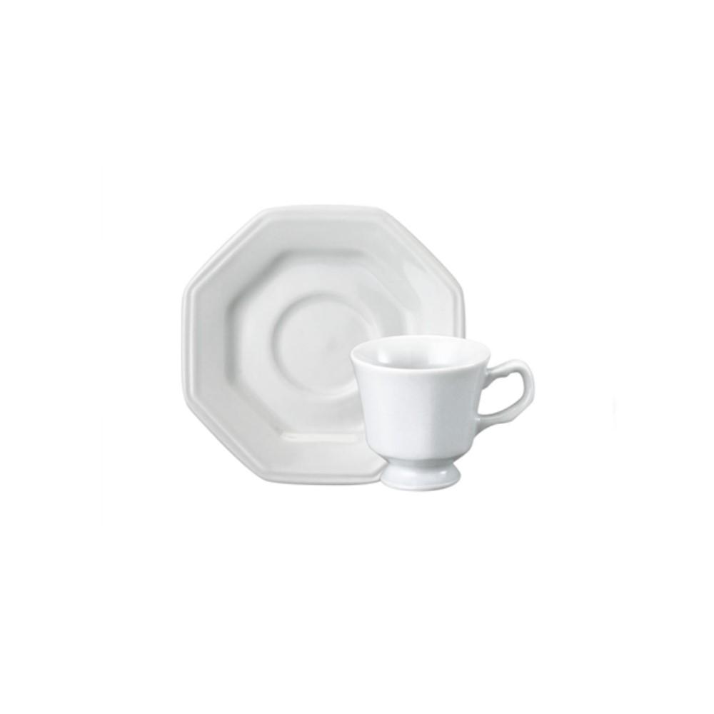 Xícara De Café Com Pires Em Porcelana 80ml Prisma Branca - Schmidt