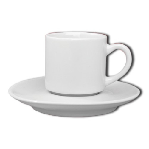 Xícara De Chá Com Pires Em Porcelana 160ml Linha Reta Ref:096 - Alfa
