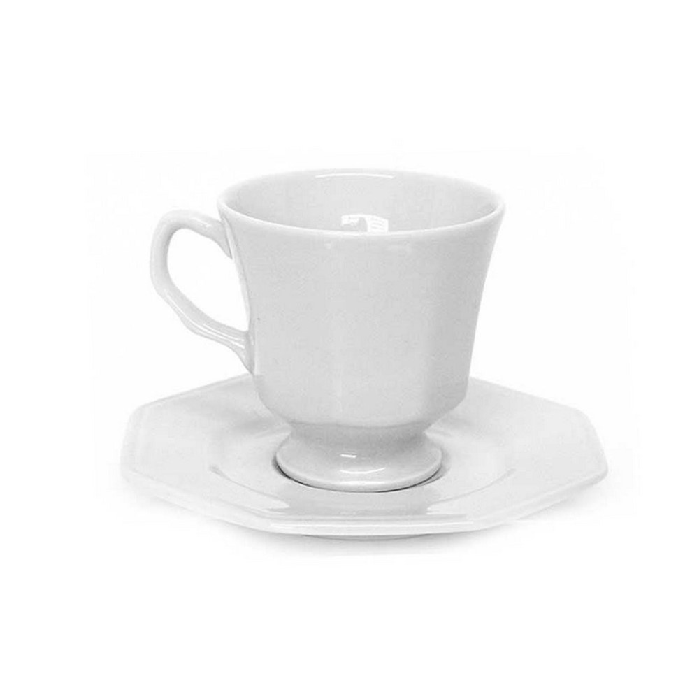 Xicara De Chá Com Pires Em Porcelana 200ml Prisma Branca - Schmidt