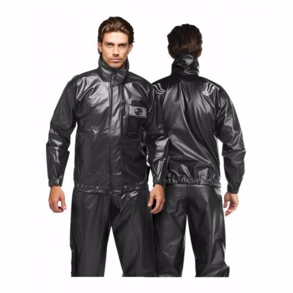 Capa De Chuva Motociclista Masculina Alba Europa PVC Com Gola Preto