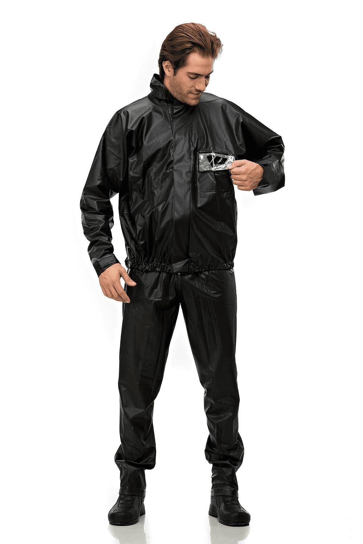 Capa De Chuva Motociclista Masculina Pantaneiro Tornado PVC Preta Ref. 2900