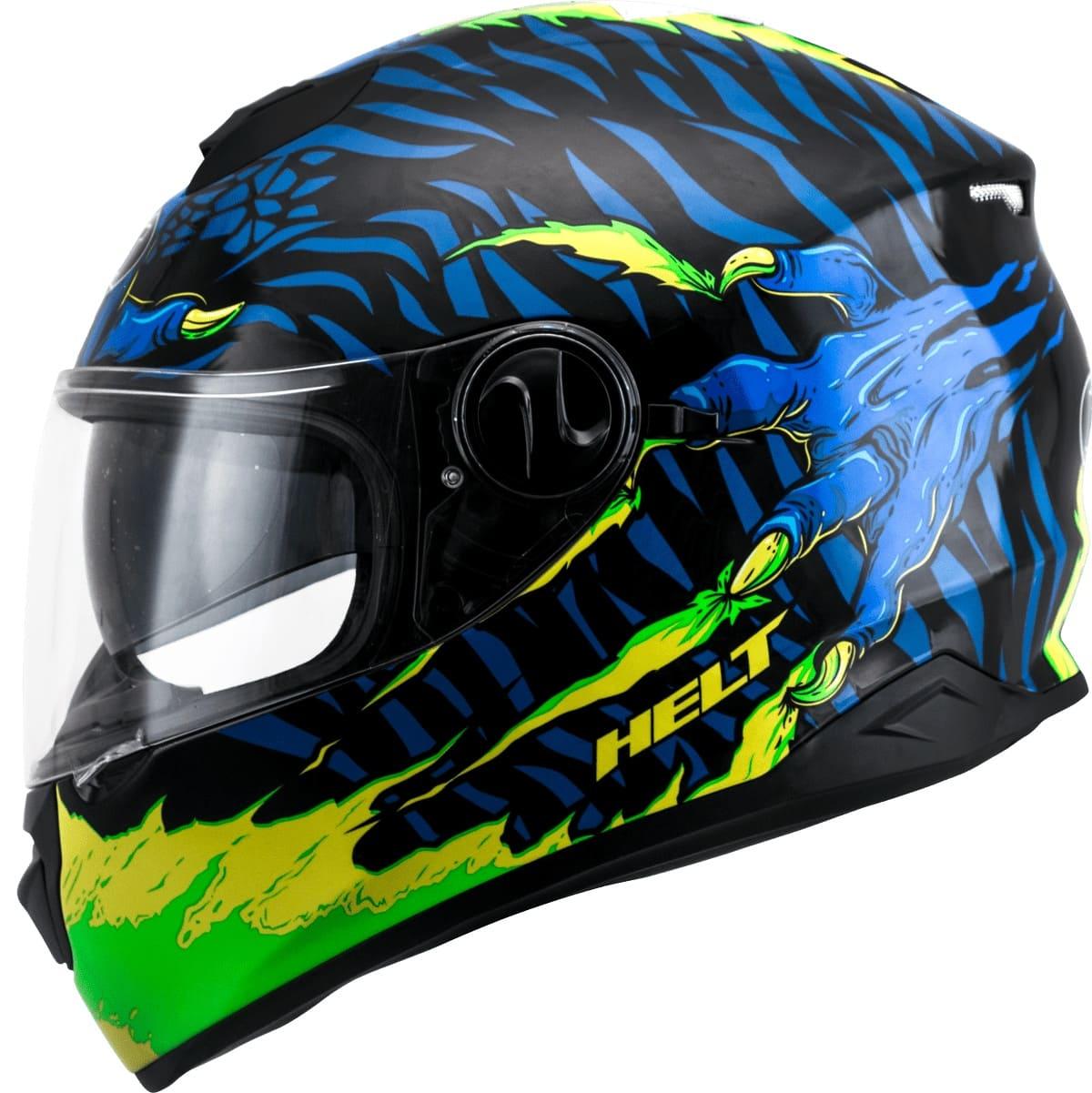 Capacete Helt 965 New Race Glass Monster C/ Óculos Interno Fumê