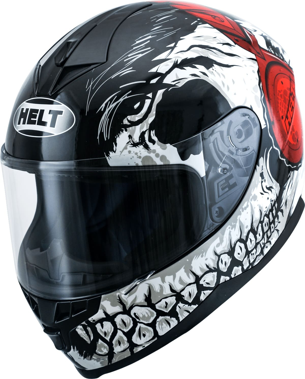 Capacete Helt 967 New Race DJ Skull Vermelho/Branco