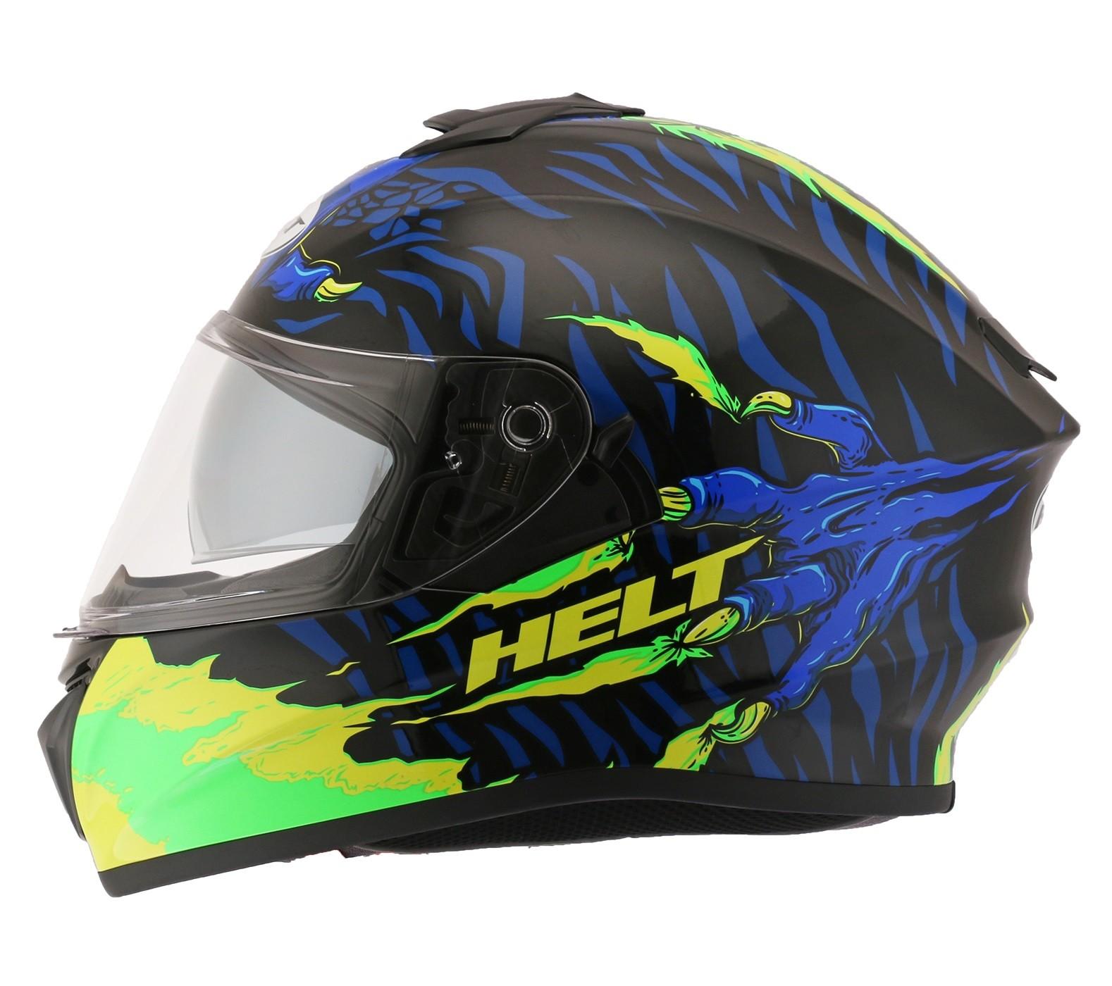 Capacete Helt 981 Avant Glass Monster Verde/Azul C/ Óculos Interno Fumê