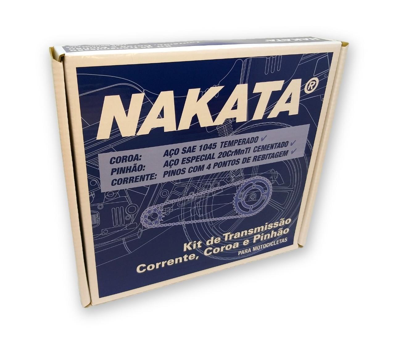 Kit Relação Titan 125 2000 a 2004 / Fan 125 2005 a 2008 Aço 1045 Nakata 428x116x44x14