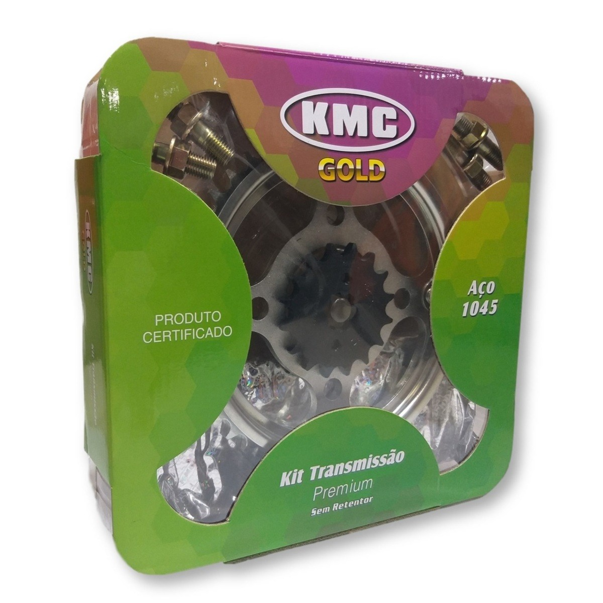 Kit Relação Titan 150 / Fan 150 2004 a 2015 Aço 1045 KMC GOLD 428x118x43x16