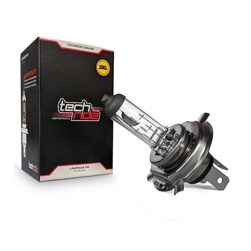 Lâmpada Farol Moto H4 12V 60/55W Falcon NX400 / CB Twister 250F 2016 / Next 250 / CB500 Reforçada Tech Ride