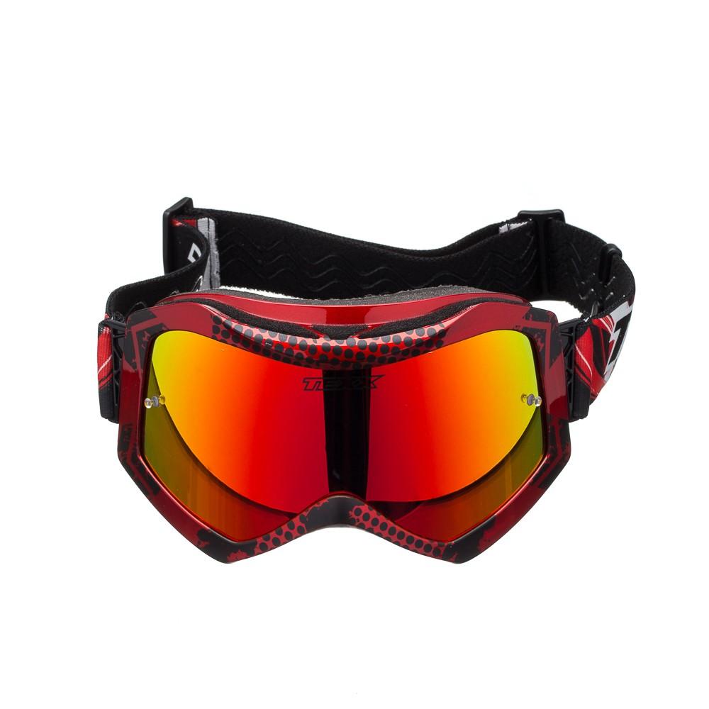 Óculos Cross Texx Raider Pro Gráfico Vermelho/Preto Metálico Lente Iridium