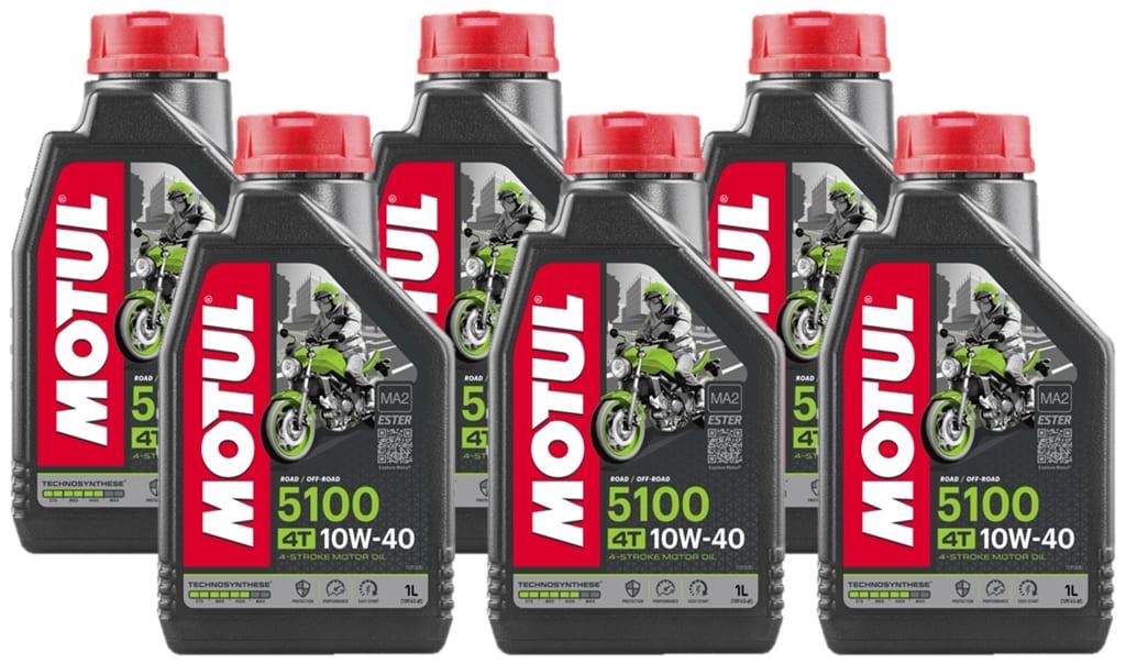 Óleo Motul 10w-40 4T 5100 Technosynthese JASO MA2 6 Litros
