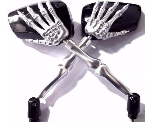 Retrovisor Custom Skull Caveira Preto Haste Cromada (Par)