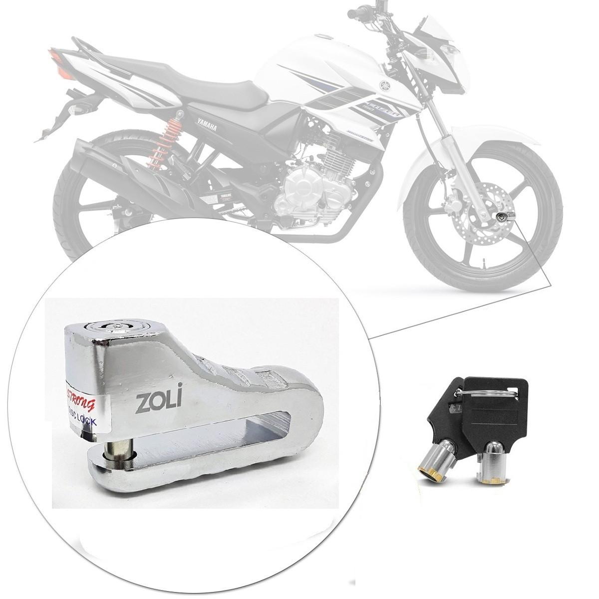 Trava Disco Anti-furto Moto Freio à Disco Cromada Chave K2 10mm Zoli