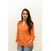 Blusa de manga longa com botões frontais LARANJA