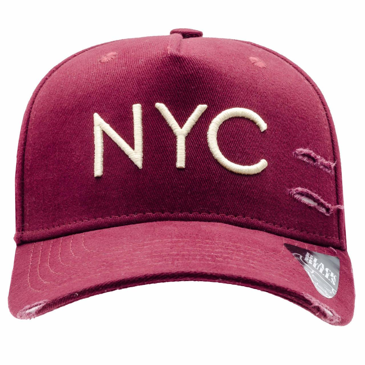 BONÉ BLACK BULLS NEW YORK CITY NYC BORDO