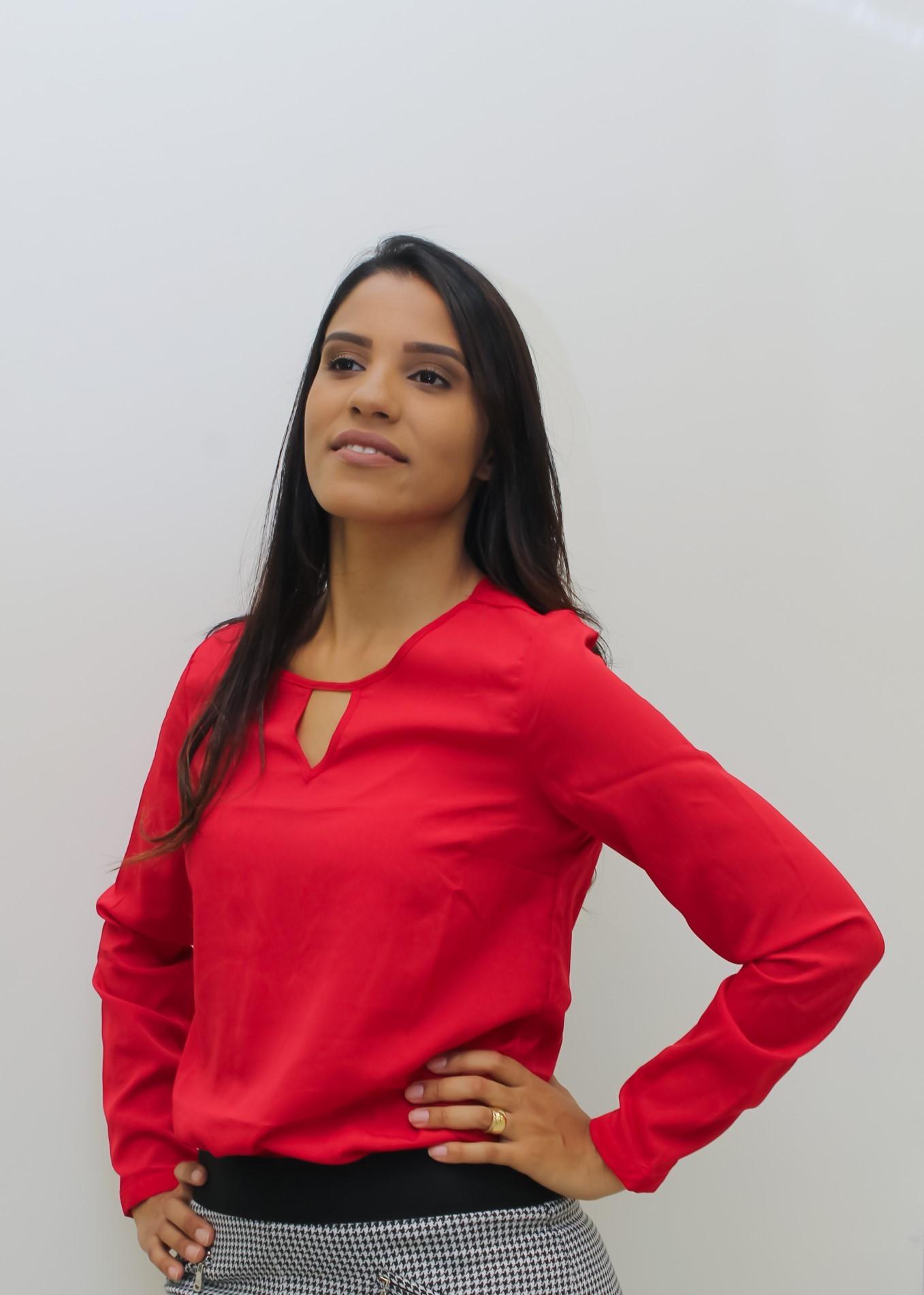 CAMISA FEMININA BÁSICA AISHTY  VERMELHO