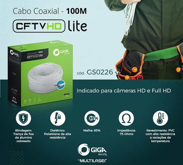 CABO CAMERA BIPOLAR HD LITE GIGA 4MM 85% - GS0226
