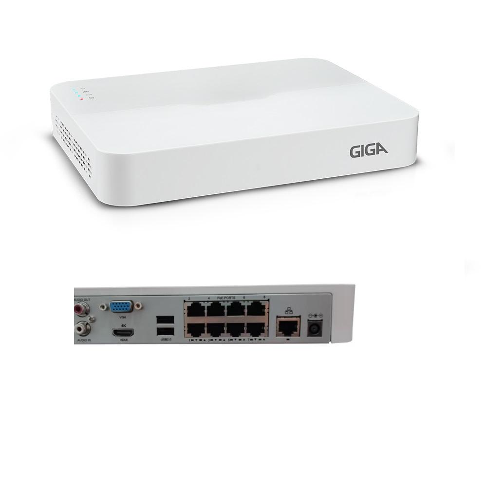NVR GIGA SECURITY 8 CANAIS POE 8MP ULTRA H265 - GS0128