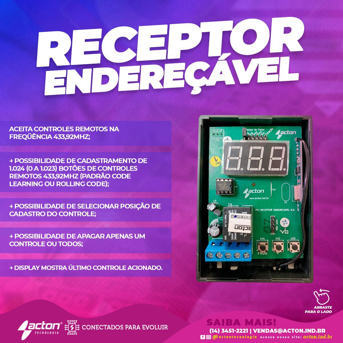 RECEPTOR RF 433MHZ ENDERECAVEL AC4