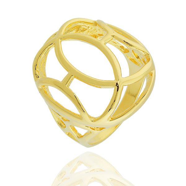 anel abaulado oval curvas dourado