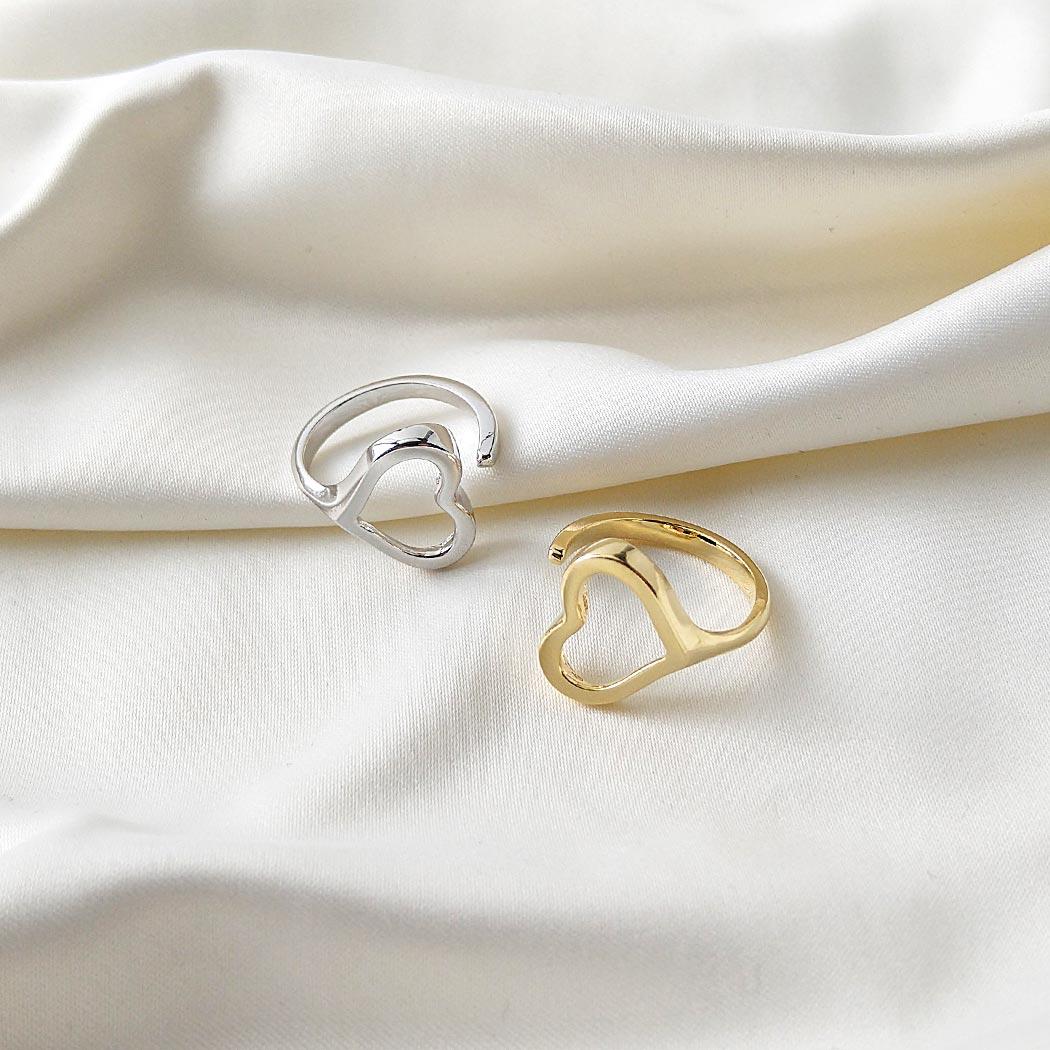 anel aberto coração regulável liso ródio claro