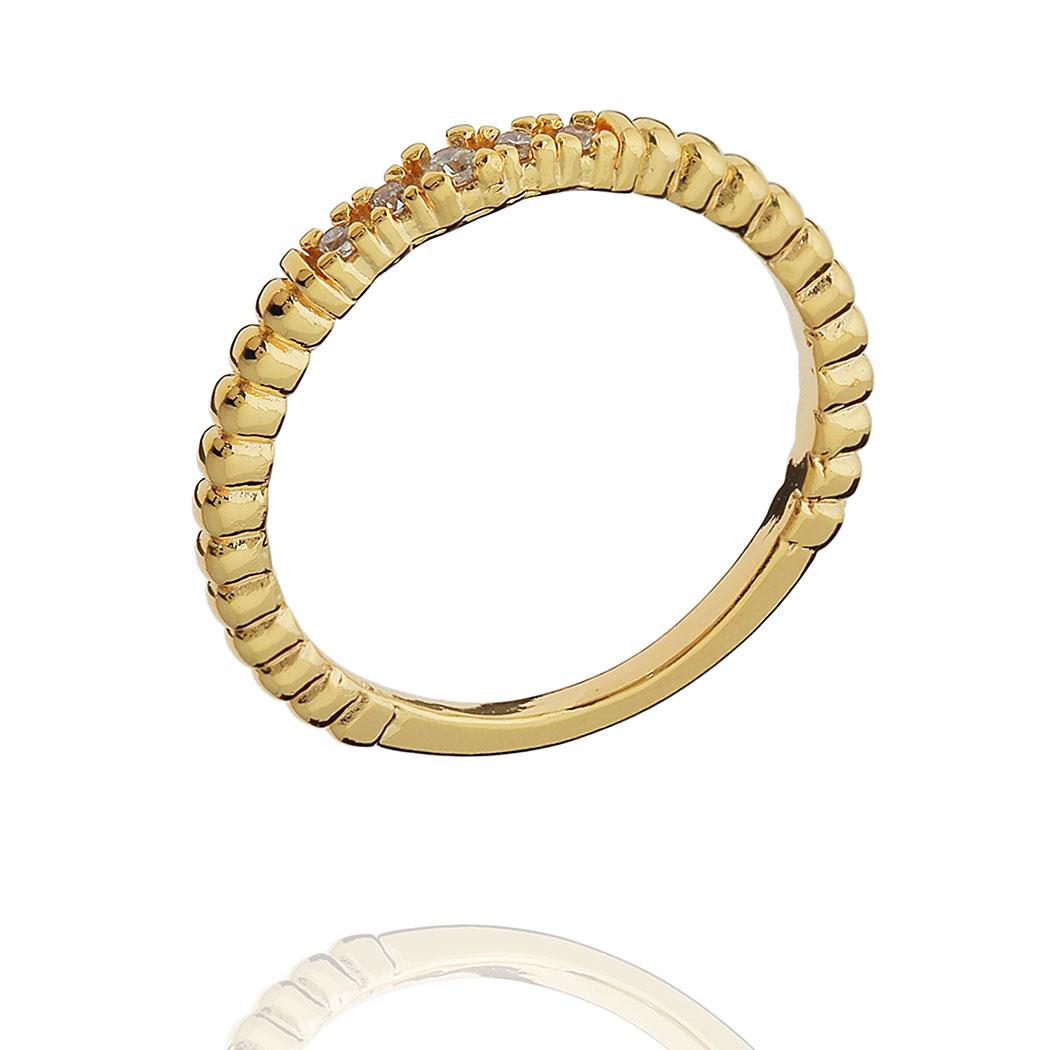 anel aparador aliança bolinhas zircônias dourado