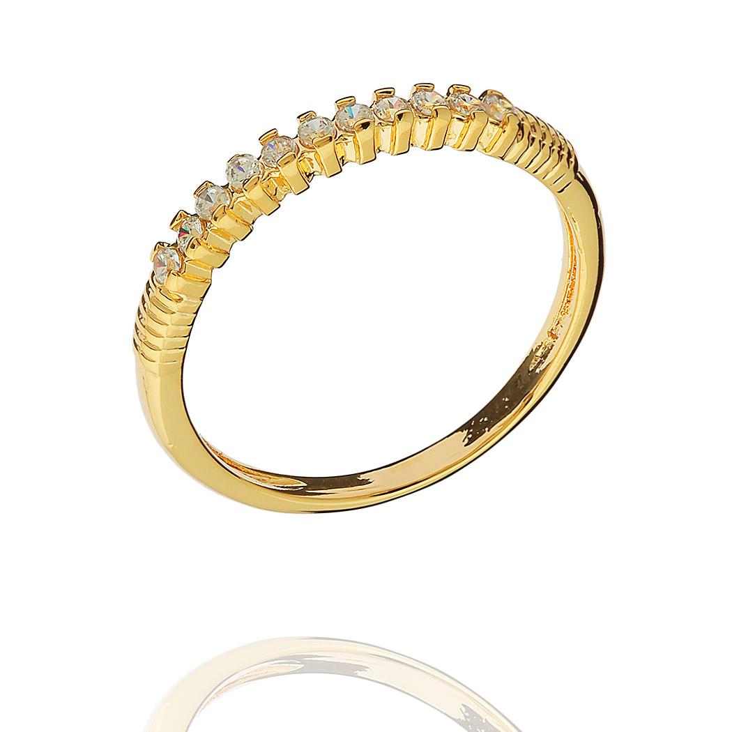 anel aparador aliança fino zircônia dourado