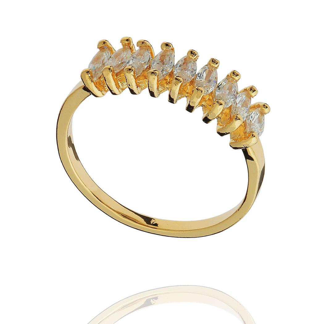 anel aparador aliança zircônia baguete dourado