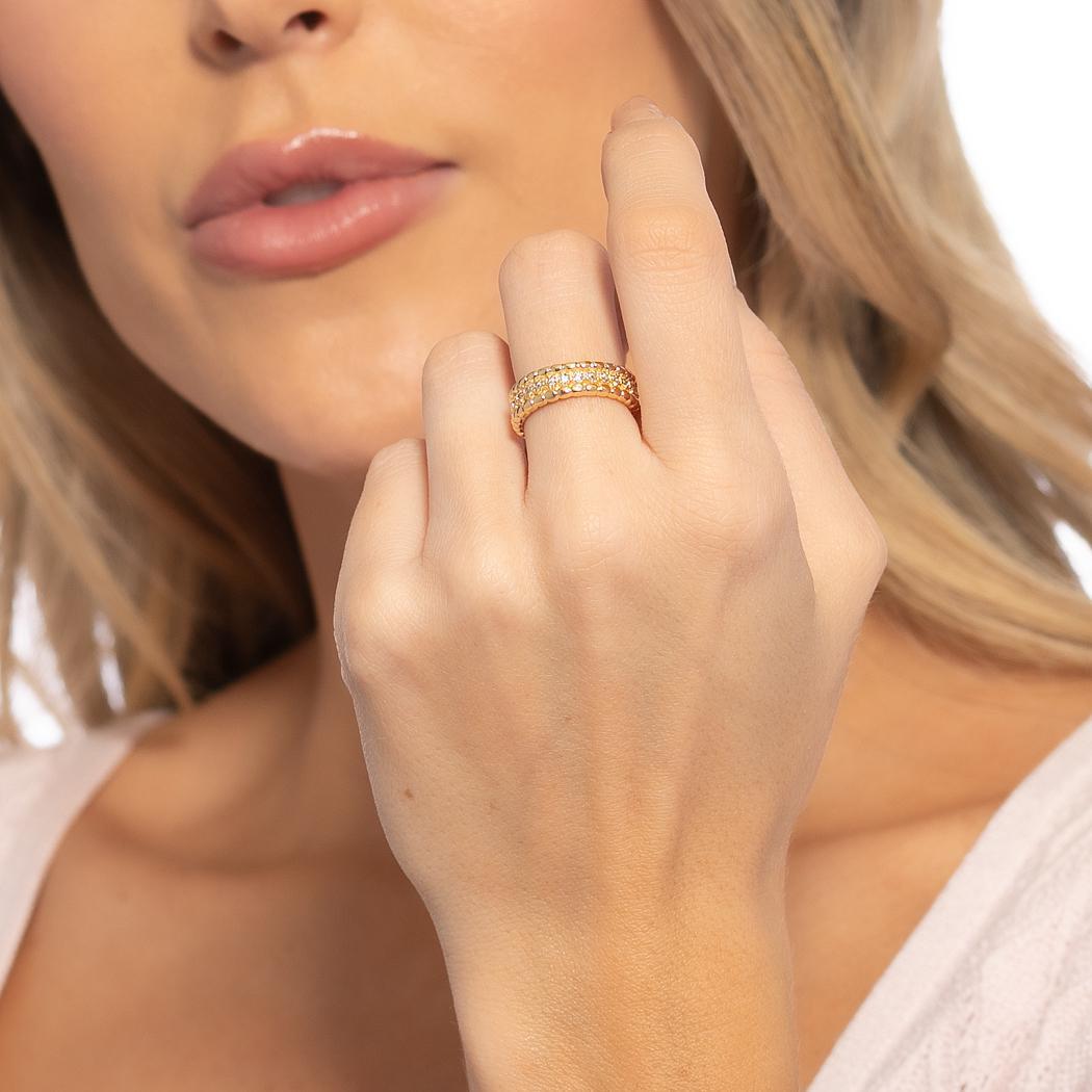 anel aparador aliança zircônias semijoia dourado