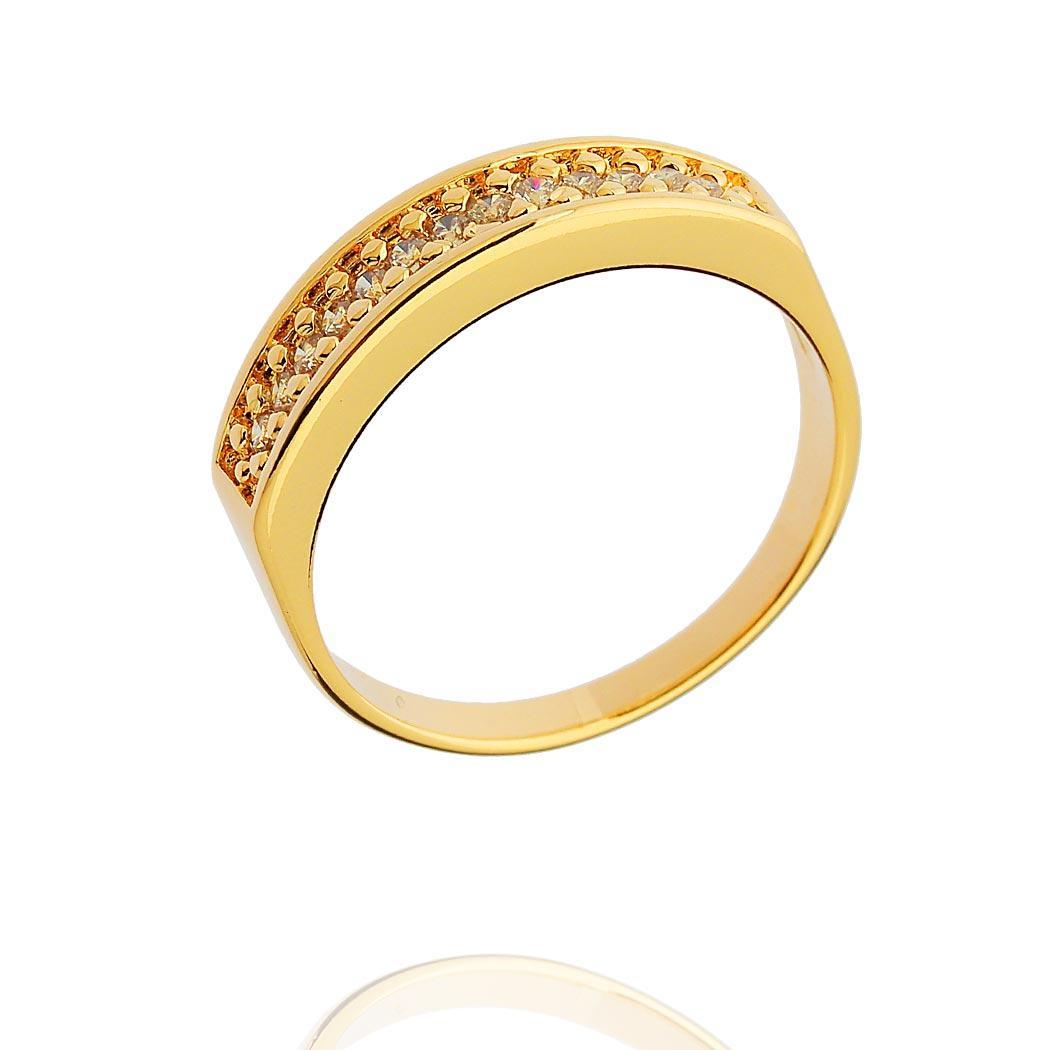 anel aparador meia aliança dourado