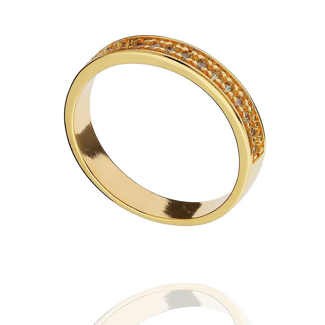 anel aparador meia aliança zircônias dourado