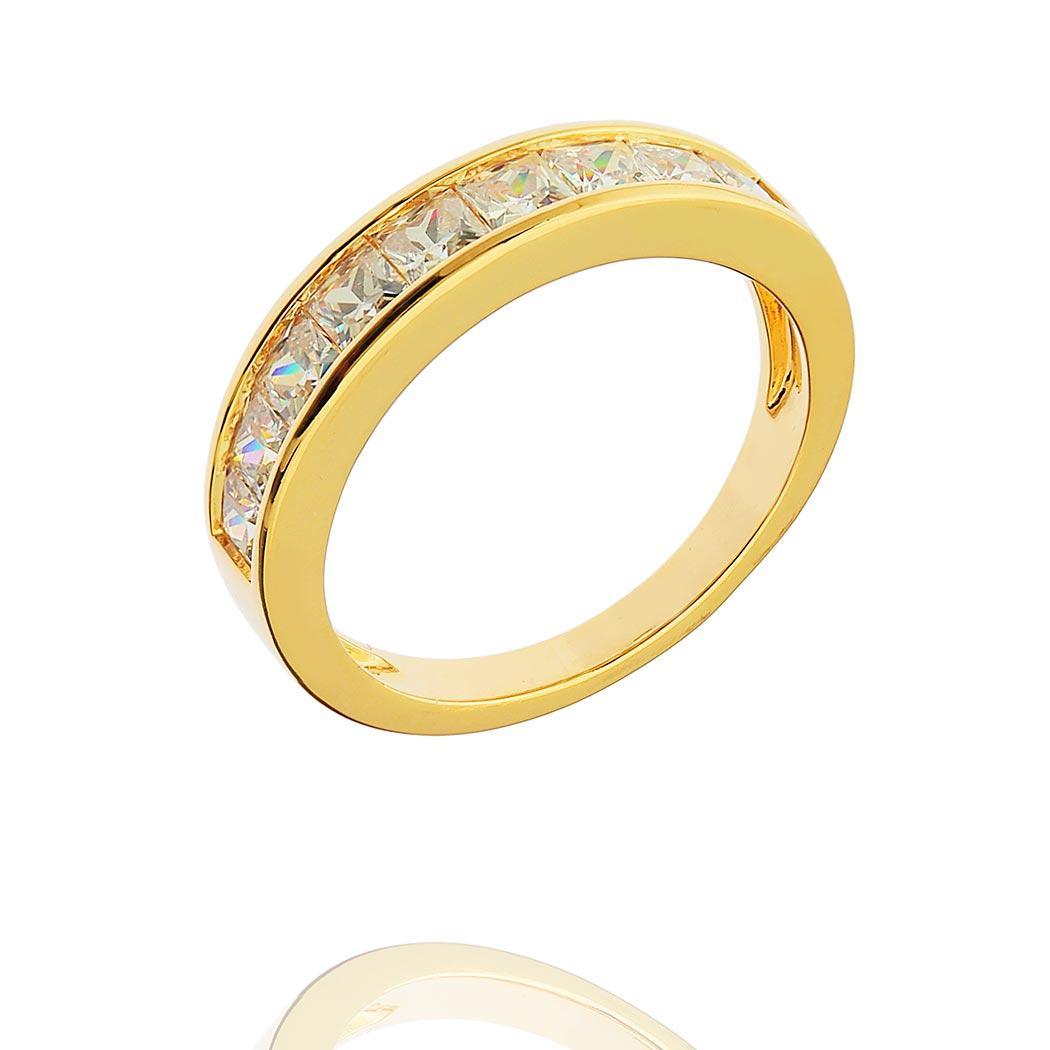 anel aparador zircônia quadrada dourado