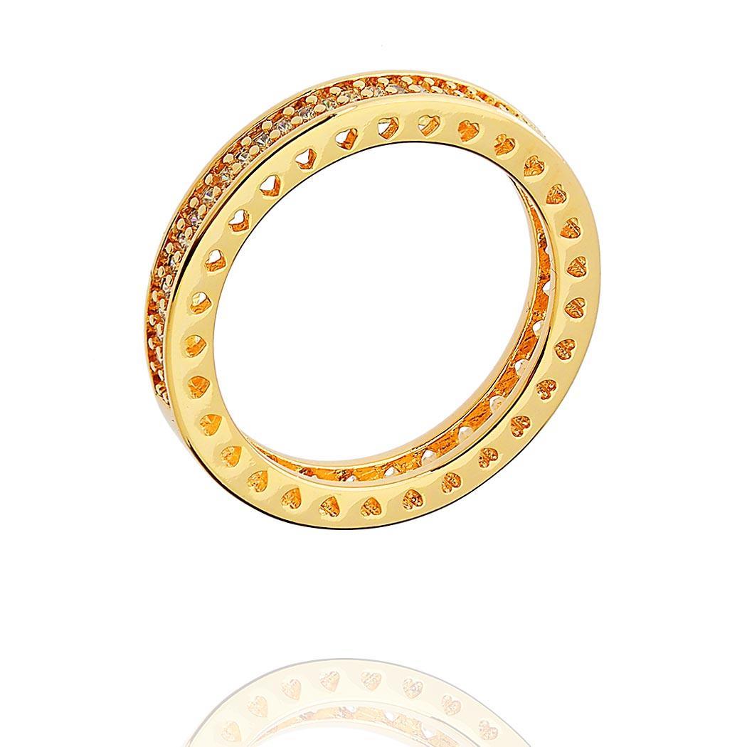 anel aparador zircônias corações dourado