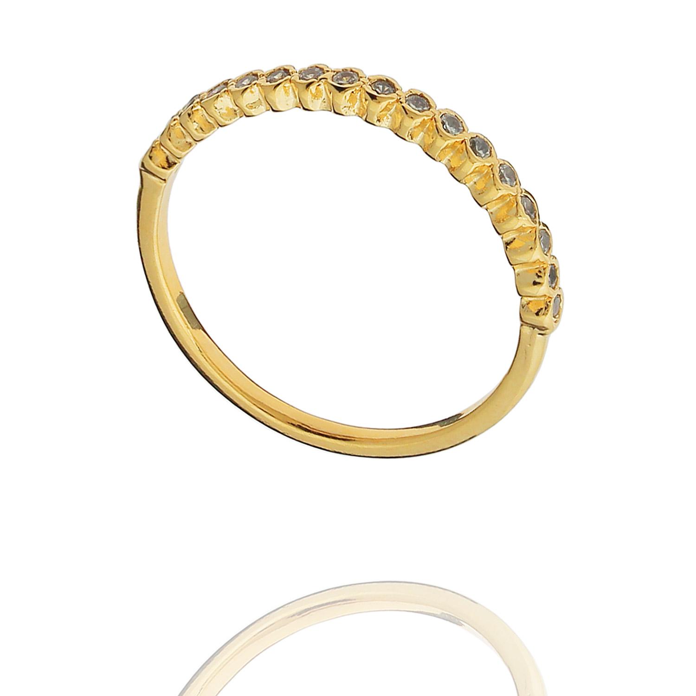 anel aparador zircônias dourado