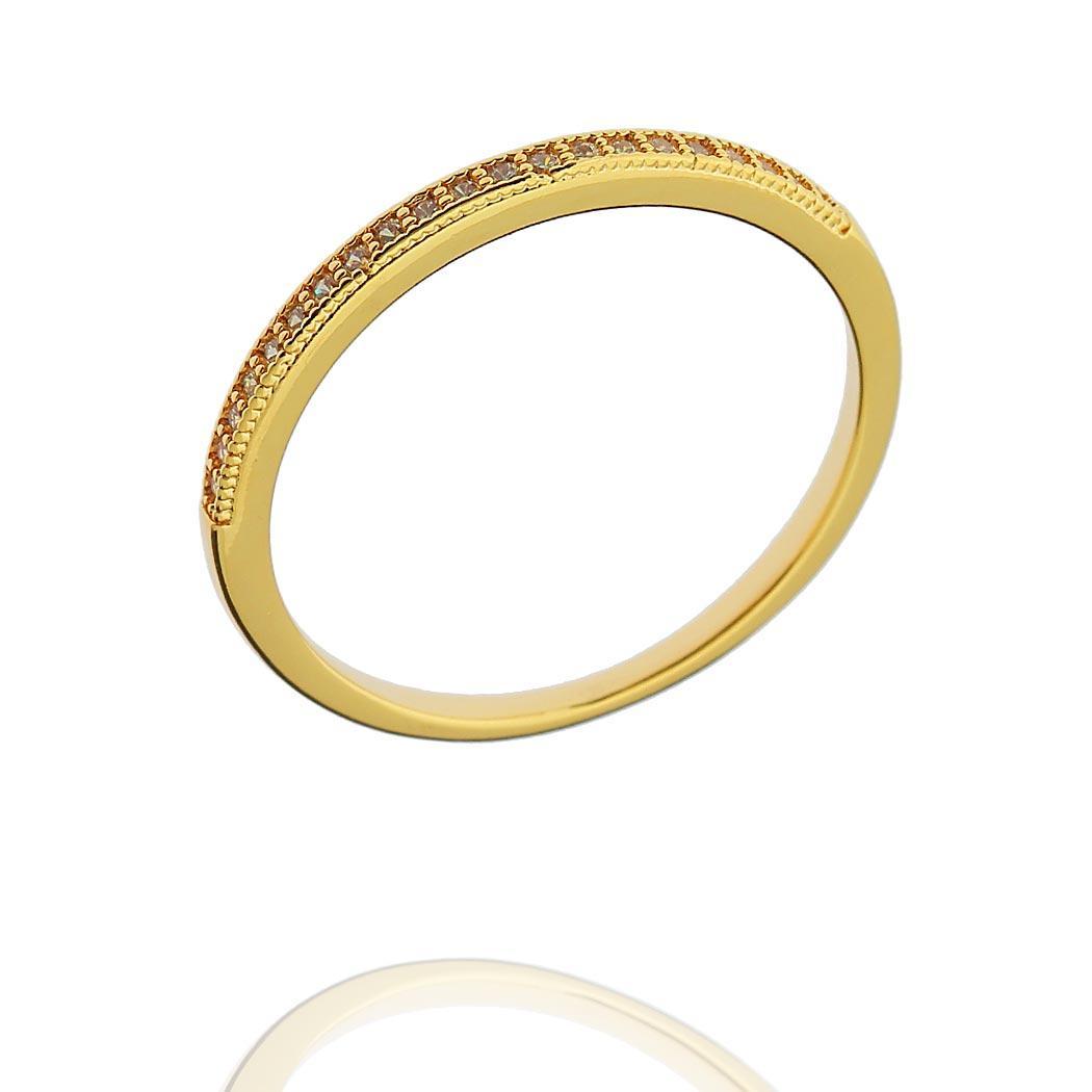 anel aparador zircônias fino dourado