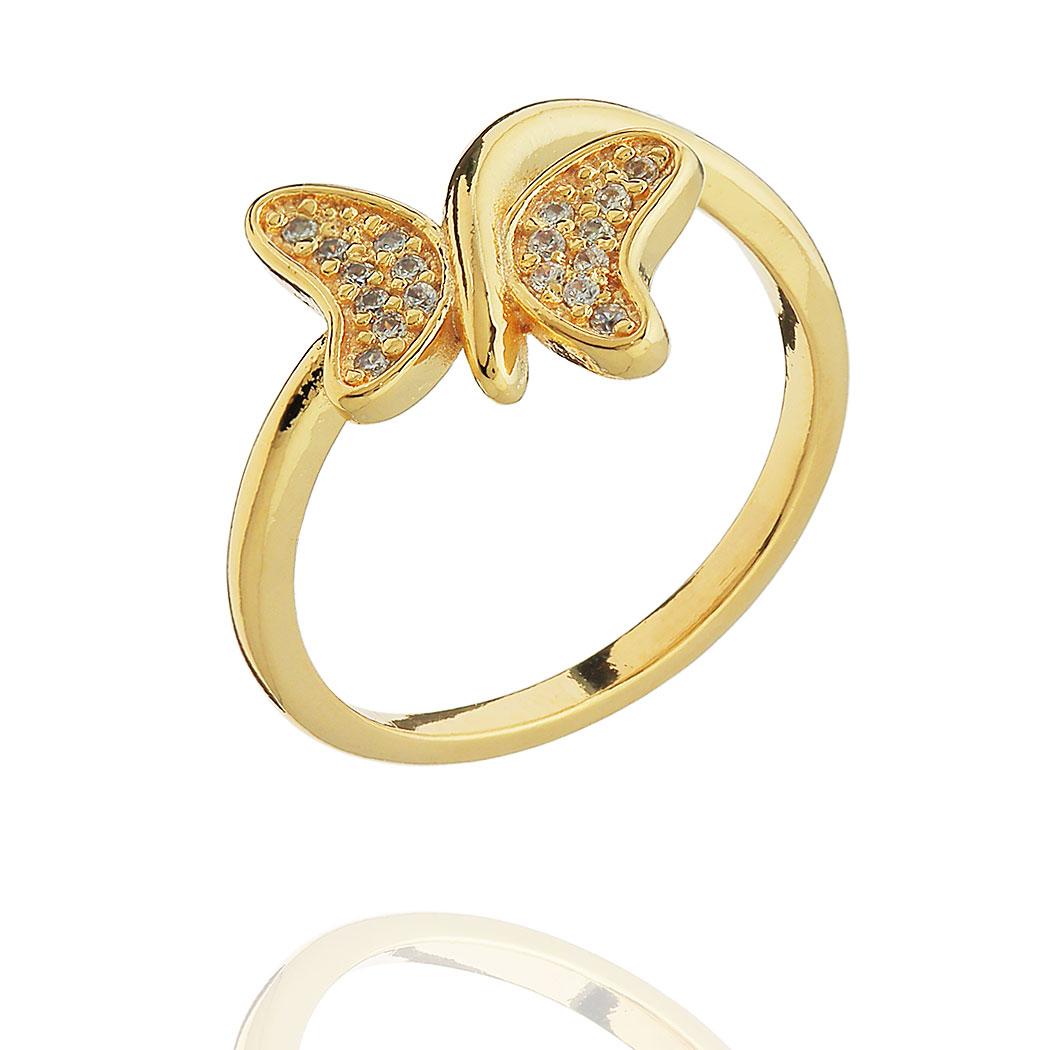 anel borboleta zircônias dourado