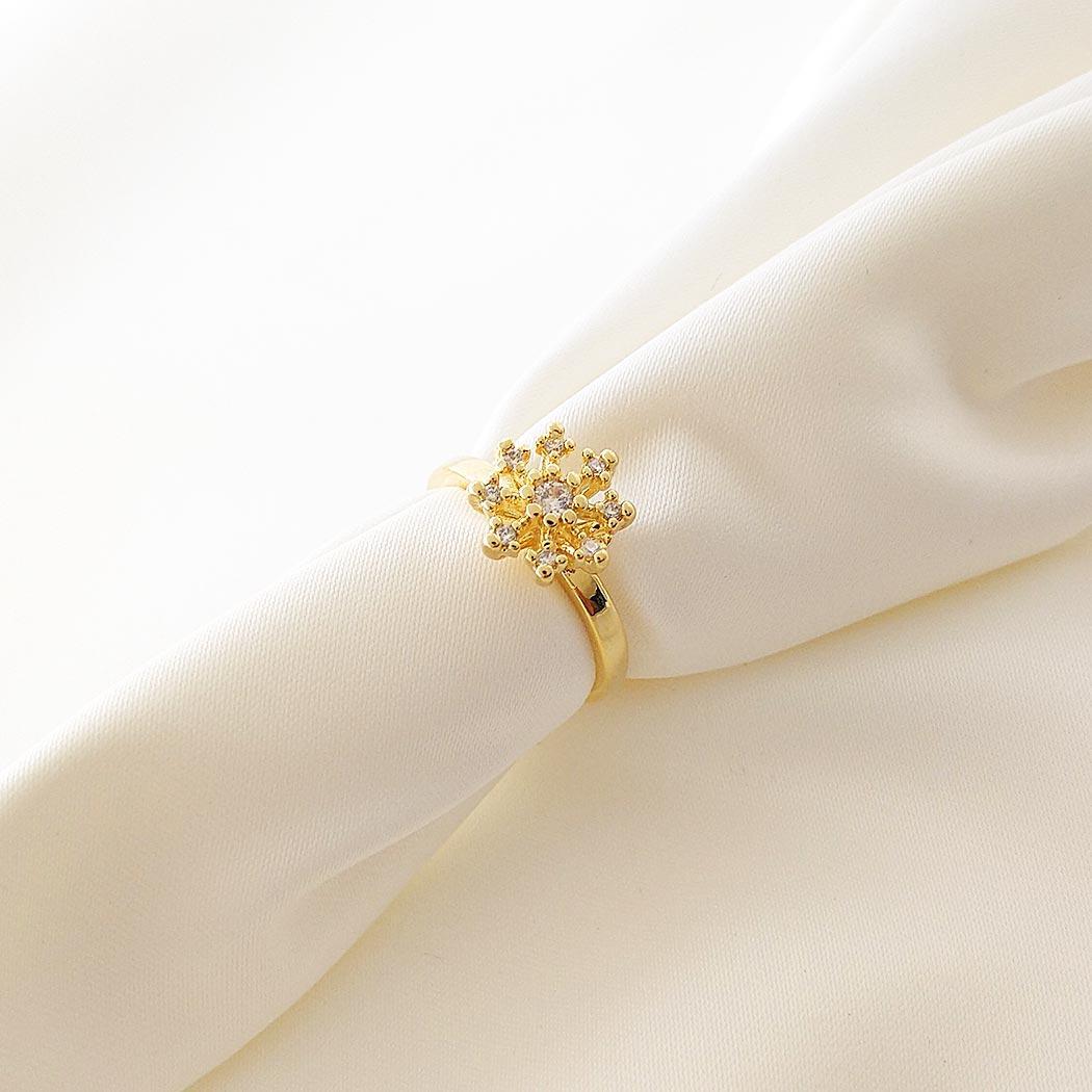anel chuveiro zircônias dourado