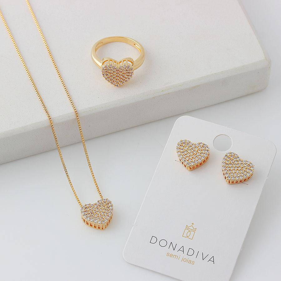 anel coração cravejado zircônias dourado