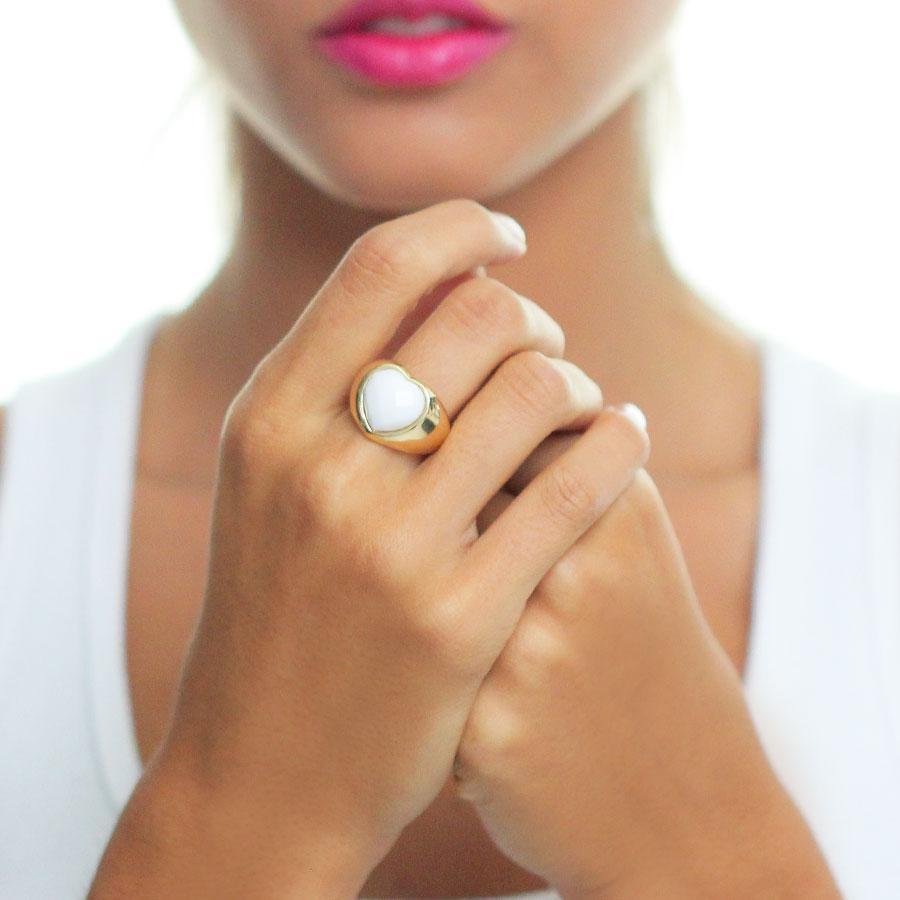 anel coração cristal branco semijoia dourado