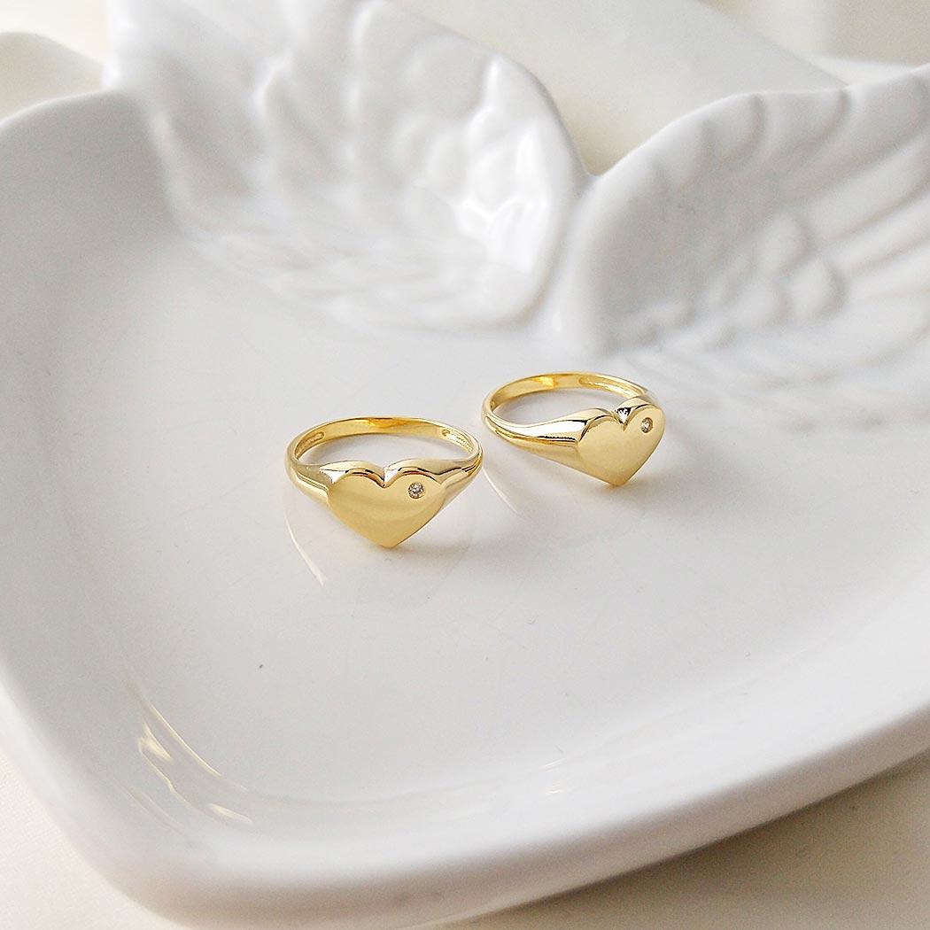 anel coração zircônia delicado dourado