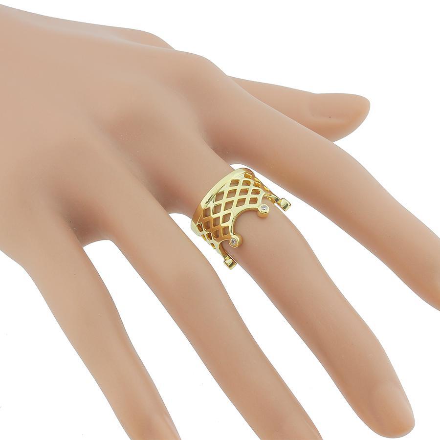 anel coroa largo zircônias dourado