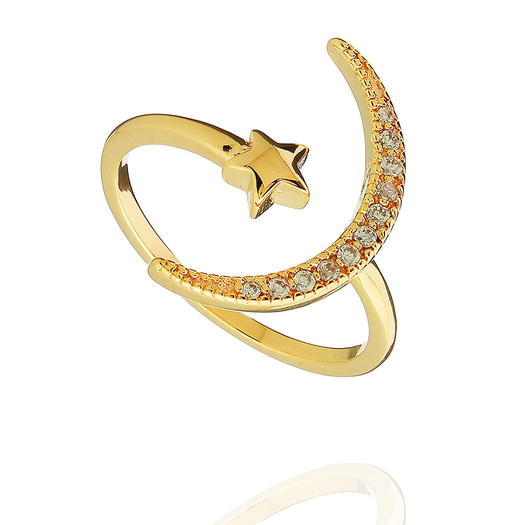 anel cosmos lua estrela zircônias dourado