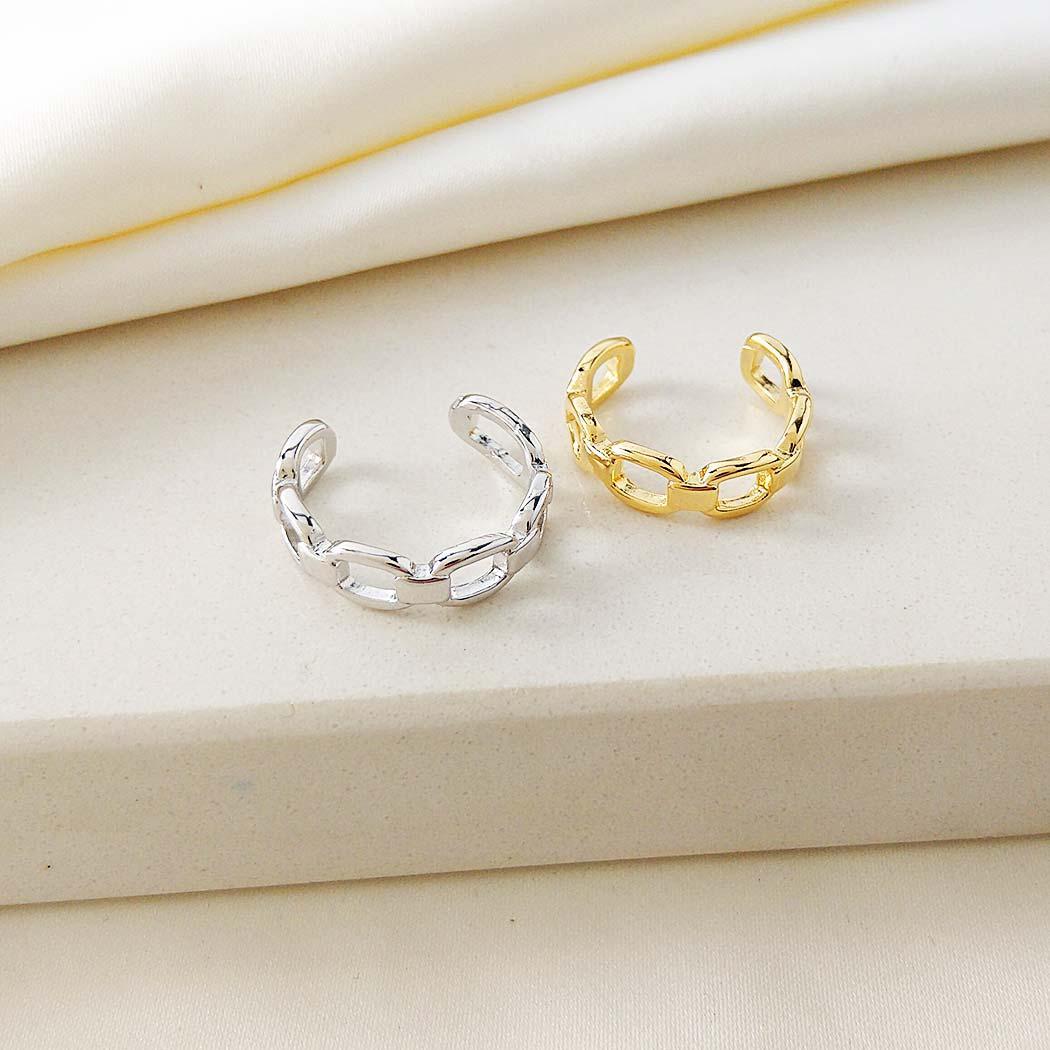anel daiany hank elos corrente regulável dourado