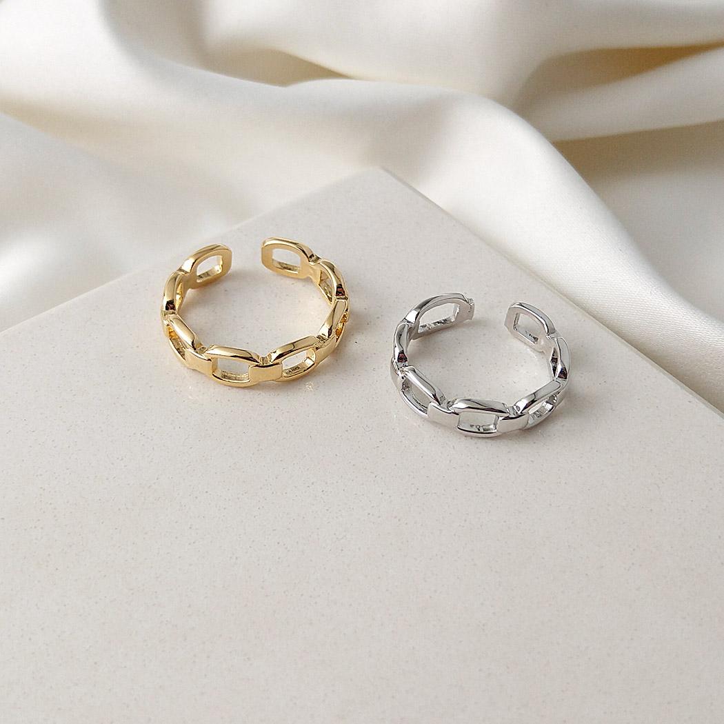 anel daiany hank elos corrente regulável ródio claro